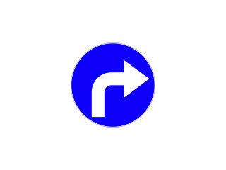 C-2: nakaz jazdy w prawo za znakiem