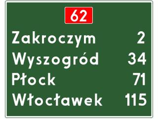 E-14: tablica szlaku drogowego