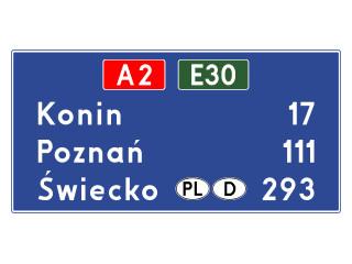 E-14a: tablica szlaku drogowego na autostradzie