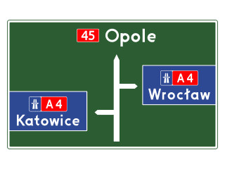 E-1b: tablica przeddrogowskazowa przed wjazdem na autostradę