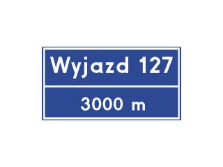 E-20: tablica węzła drogowego na autostradzie