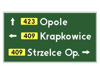 E-2a: drogowskaz tablicowy umieszczany obok jezdni
