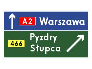 E-2c: drogowskaz tablicowy umieszczany obok jezdni na autostradzie
