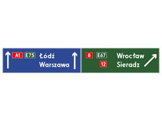 E-2d: drogowskaz tablicowy umieszczany nad jezdnią na autostradzie
