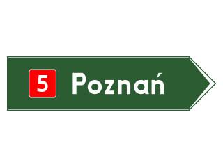 E-3: drogowskaz w kształcie strzały do miejscowości wskazujący numer drogi